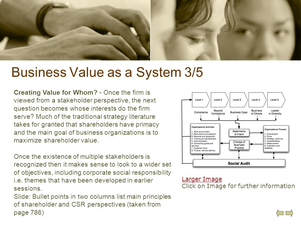Business Value as a System 3/5 Creating Value for Whom? - Once the firm is viewed from a stakeholder perspective, the next question becomes whose inte