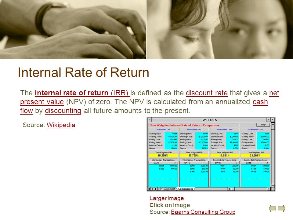Internal Rate of Return The internal rate of return (IRR) is defined as the discount rate that gives a net present value (NPV) of zero. The NPV is cal