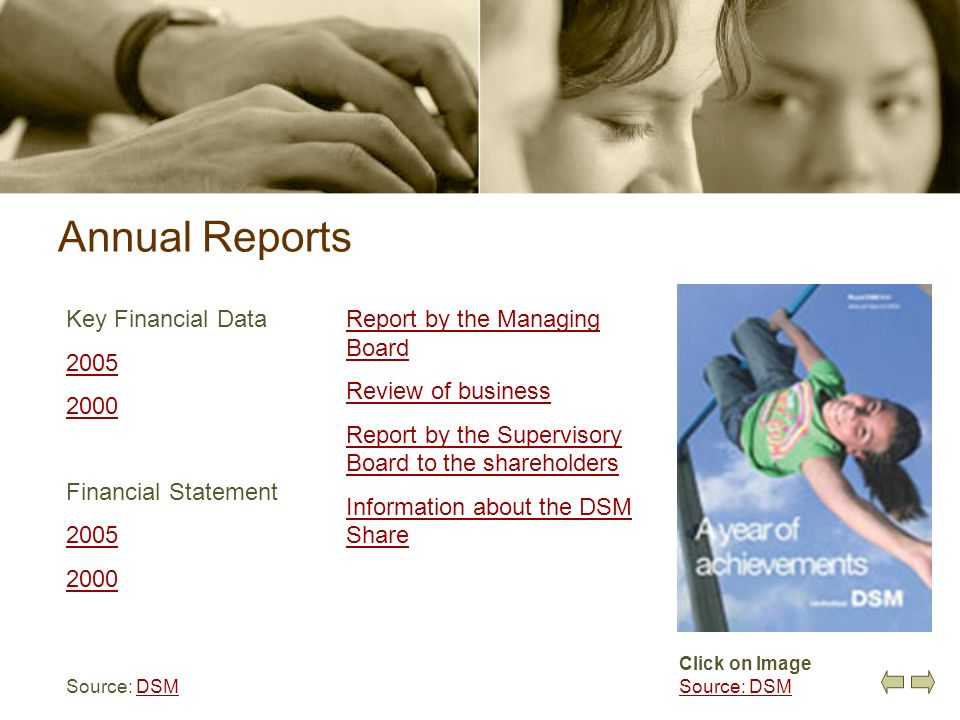 Annual Reports Key Financial Data 2005 2000 Financial Statement 2005 2000 Source: DSMDSM Click on Image Source: DSM Report by the Managing Board Revie