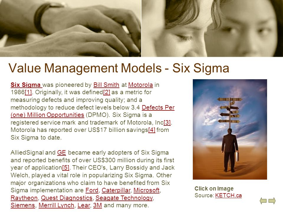 Value Management Models - Six Sigma Six Sigma Six Sigma was pioneered by Bill Smith at Motorola in 1986[1]. Originally, it was defined[2] as a metric