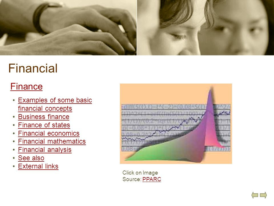 Financial Finance Examples of some basic financial conceptsExamples of some basic financial concepts Business finance Finance of states Financial econ