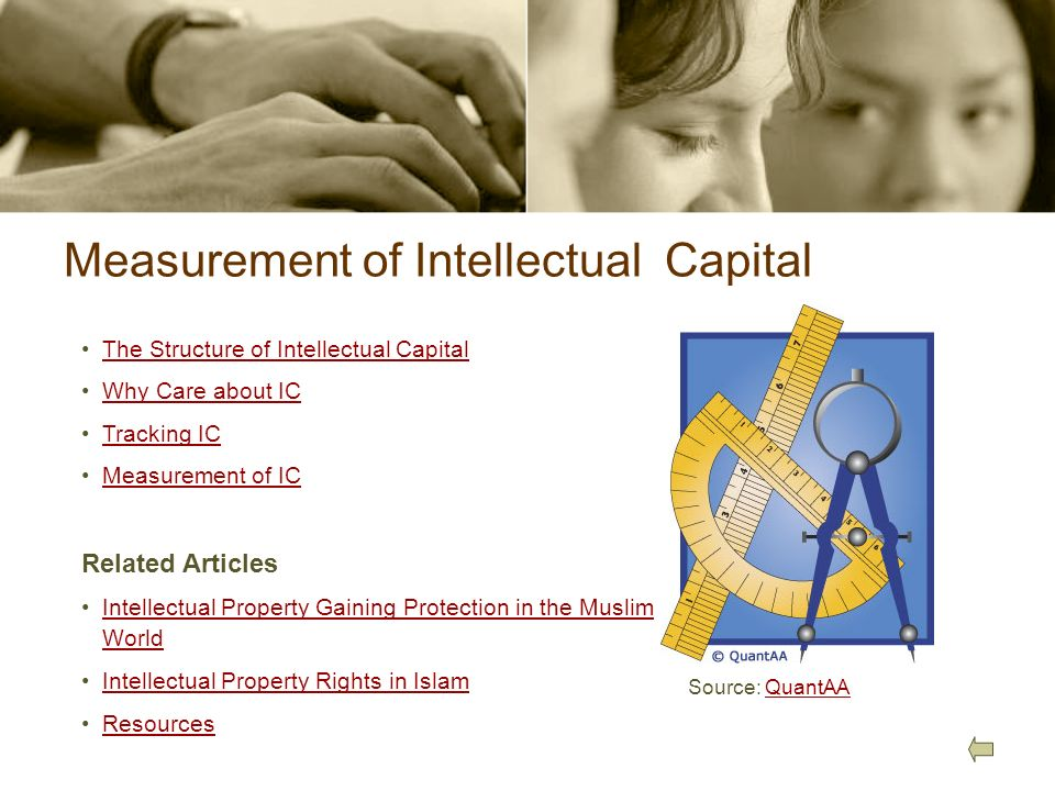 Measurement of Intellectual Capital Source: QuantAAQuantAA The Structure of Intellectual Capital Why Care about IC Tracking IC Measurement of IC Relat