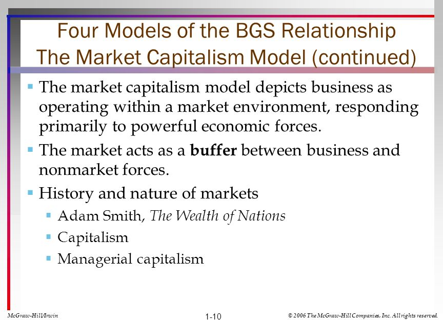 Four Models of the BGS Relationship The Market Capitalism Model (continued) The market capitalism model depicts business as operating within a market