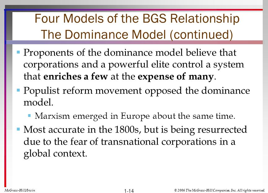 Four Models of the BGS Relationship The Dominance Model (continued) Proponents of the dominance model believe that corporations and a powerful elite c