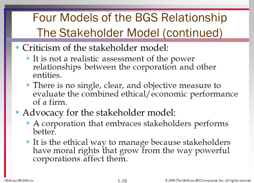Four Models of the BGS Relationship The Stakeholder Model (continued) Criticism of the stakeholder model: It is not a realistic assessment of the powe