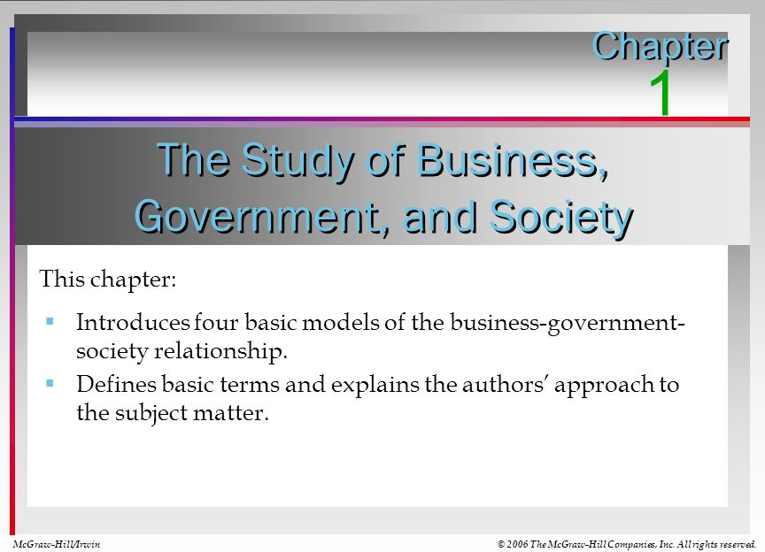 The Study of Business, Government, and Society Chapter 1 McGraw-Hill/Irwin© 2006 The McGraw-Hill Companies, Inc. All rights reserved. This chapter: In
