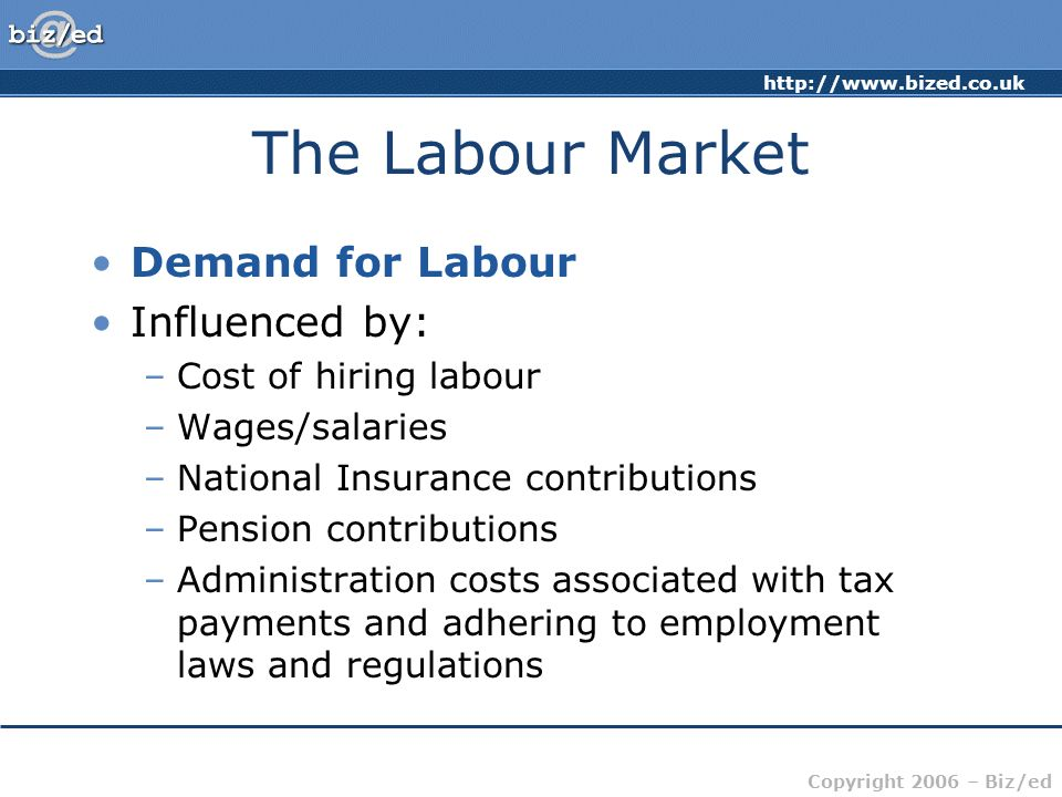 Copyright 2006 – Biz/ed The Labour Market Demand for Labour Influenced by: –Cost of hiring labour –Wages/salaries –National Insurance contributions –Pension contributions –Administration costs associated with tax payments and adhering to employment laws and regulations