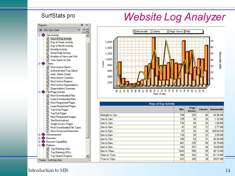 Introduction to MIS14 Website Log Analyzer SurfStats pro