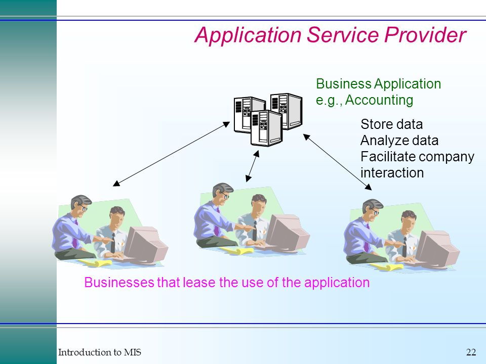 Introduction to MIS22 Application Service Provider Business Application e.g., Accounting Store data Analyze data Facilitate company interaction Busine