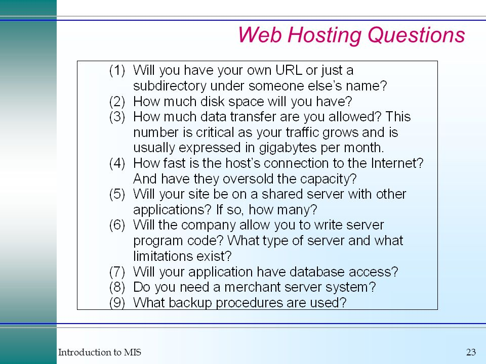 Introduction to MIS23 Web Hosting Questions