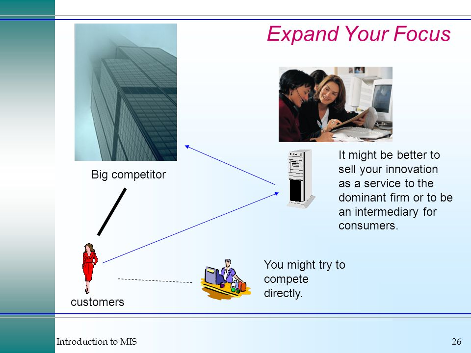 Introduction to MIS26 Expand Your Focus customers Big competitor You might try to compete directly.