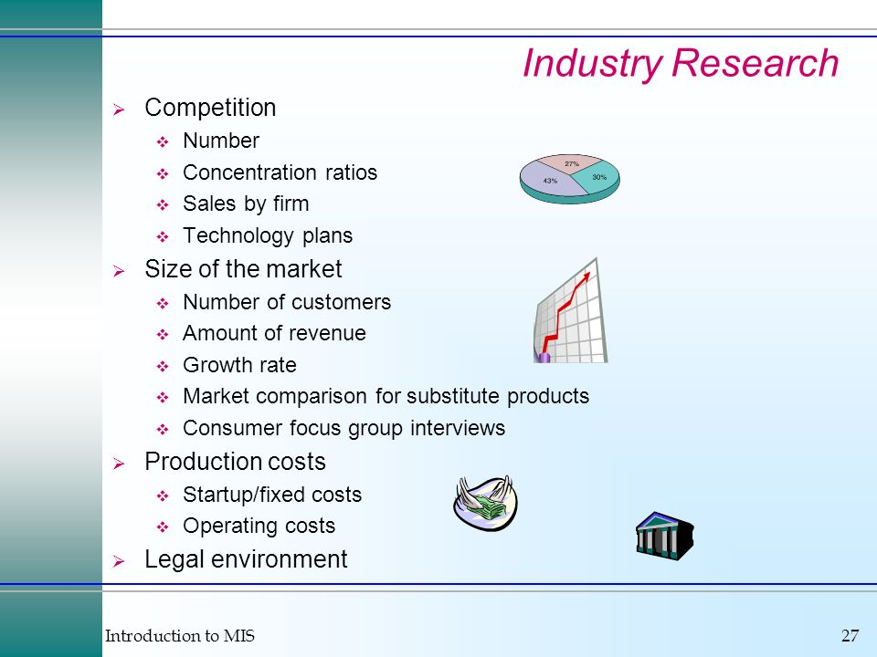 Introduction to MIS27 Industry Research Competition Number Concentration ratios Sales by firm Technology plans Size of the market Number of customers Amount of revenue Growth rate Market comparison for substitute products Consumer focus group interviews Production costs Startup/fixed costs Operating costs Legal environment