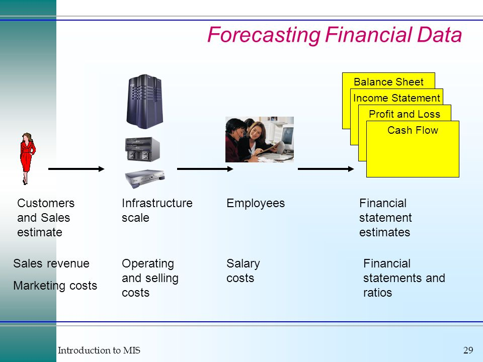 Introduction to MIS29 Forecasting Financial Data Customers and Sales estimate Infrastructure scale Employees Sales revenue Marketing costs Operating and selling costs Salary costs Balance Sheet Income Statement Profit and Loss Cash Flow Financial statement estimates Financial statements and ratios