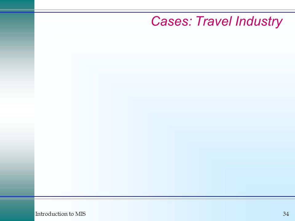 Introduction to MIS34 Cases: Travel Industry