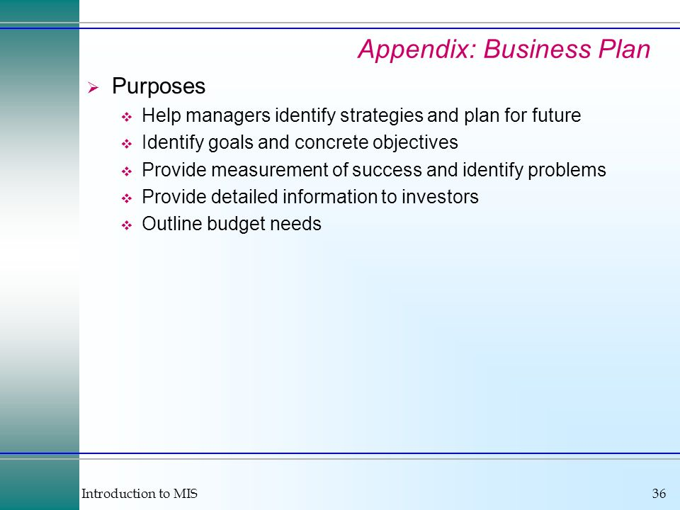 Introduction to MIS36 Appendix: Business Plan Purposes Help managers identify strategies and plan for future Identify goals and concrete objectives Provide measurement of success and identify problems Provide detailed information to investors Outline budget needs