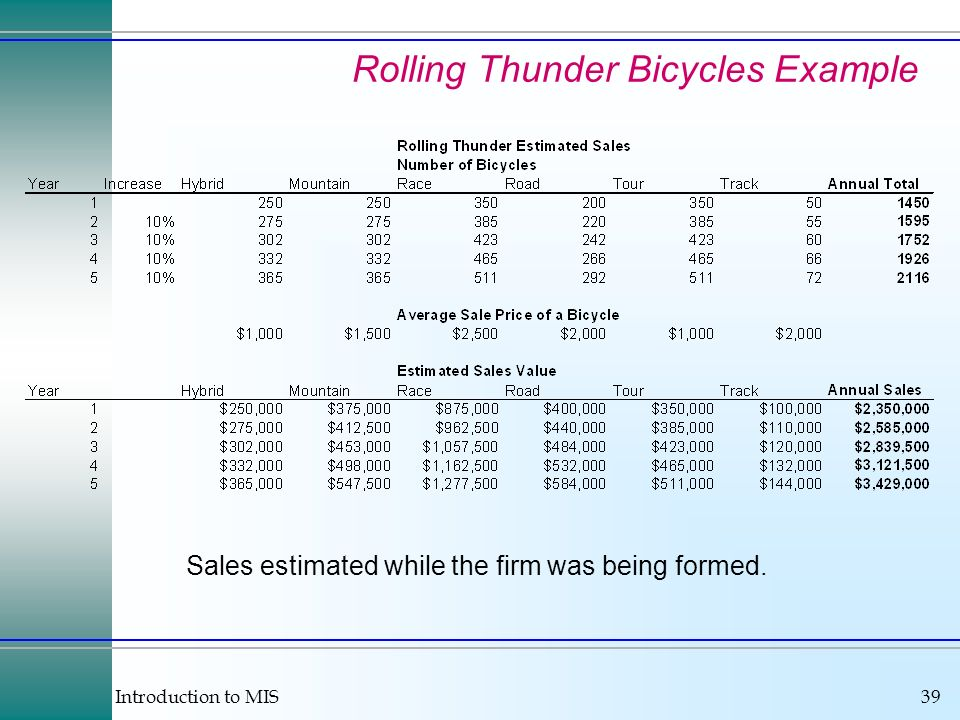 Introduction to MIS39 Rolling Thunder Bicycles Example Sales estimated while the firm was being formed.