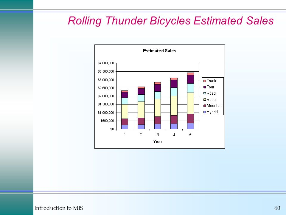 Introduction to MIS40 Rolling Thunder Bicycles Estimated Sales