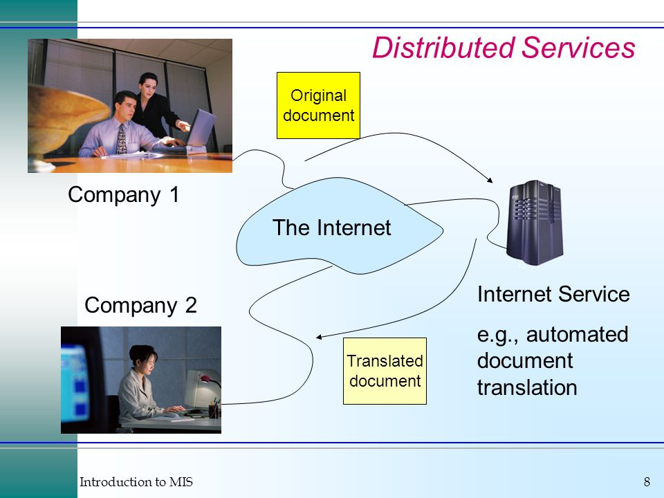 Introduction to MIS8 Distributed Services Company 1 Company 2 The Internet Original document Translated document Internet Service e.g., automated document translation