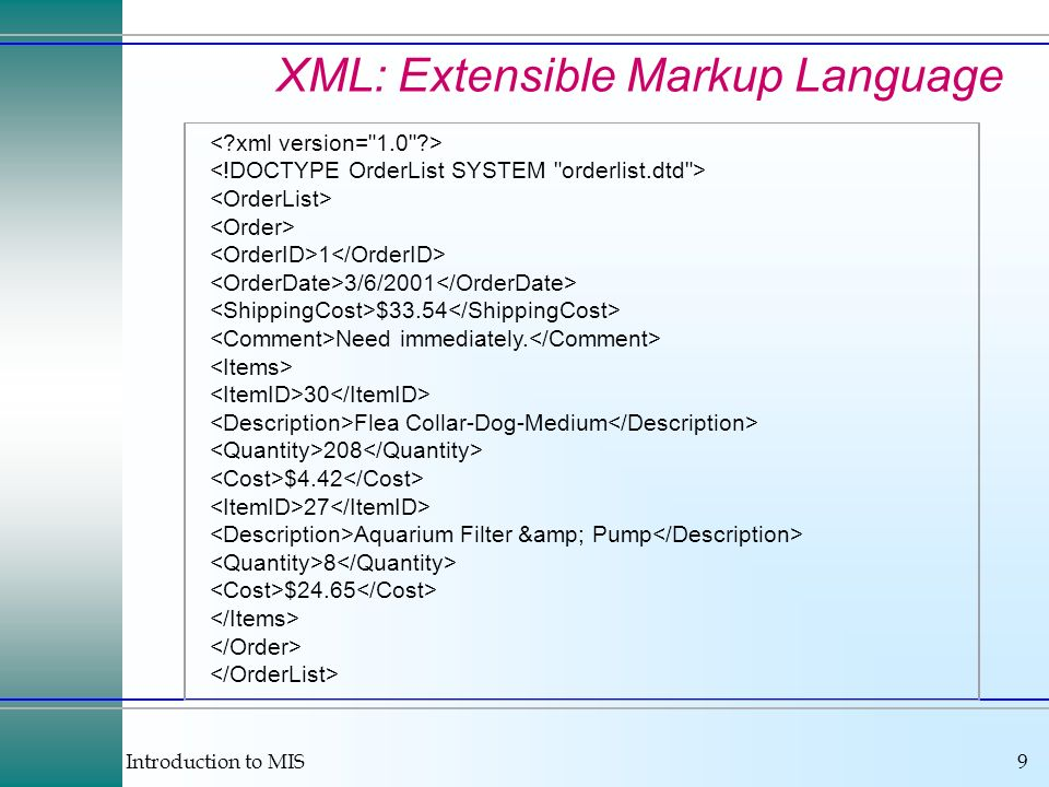 Introduction to MIS9 XML: Extensible Markup Language 1 3/6/2001 $33.54 Need immediately.