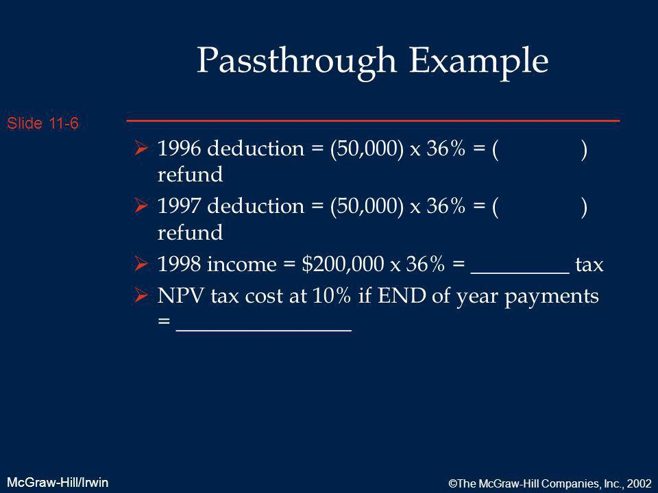 Slide 11-6 McGraw-Hill/Irwin ©The McGraw-Hill Companies, Inc., 2002 Passthrough Example 1996 deduction = (50,000) x 36% = ( ) refund 1997 deduction =