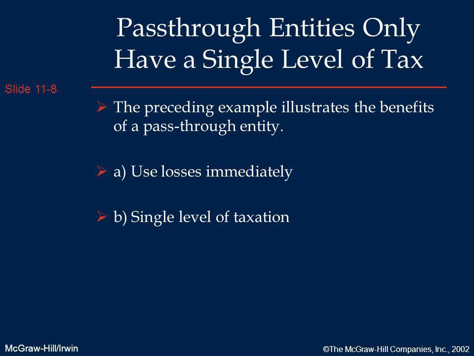 Slide 11-8 McGraw-Hill/Irwin ©The McGraw-Hill Companies, Inc., 2002 Passthrough Entities Only Have a Single Level of Tax The preceding example illustr