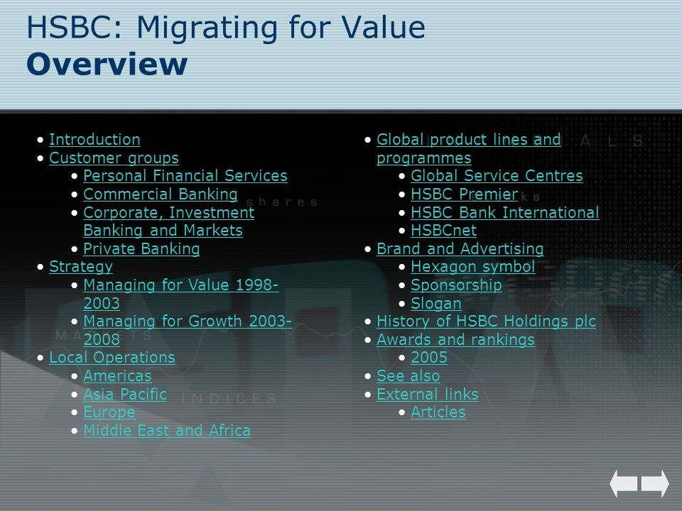 HSBC: Migrating for Value Overview Introduction Customer groups Personal Financial Services Commercial Banking Corporate, Investment Banking and Marke