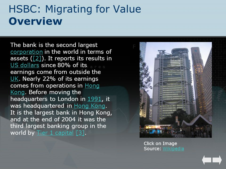 HSBC: Migrating for Value Overview The bank is the second largest corporation in the world in terms of assets ([2]). It reports its results in US doll