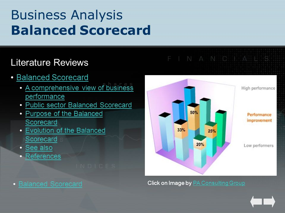 Business Analysis Balanced Scorecard Literature Reviews Balanced Scorecard Click on Image by PA Consulting GroupPA Consulting Group A comprehensive vi