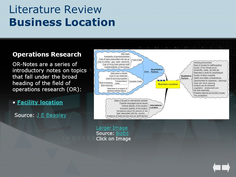 Literature Review Business Location Larger Image Source: BizEdBizEd Click on Image Operations Research OR-Notes are a series of introductory notes on
