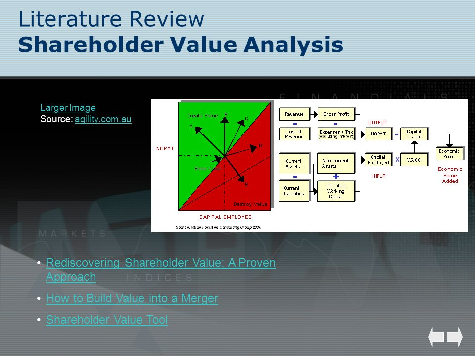 Literature Review Shareholder Value Analysis Larger Image Source: agility.com.auagility.com.au Rediscovering Shareholder Value: A Proven ApproachRedis
