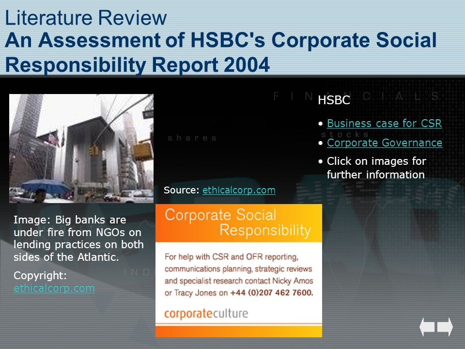 Literature Review An Assessment of HSBC's Corporate Social Responsibility Report 2004 Image: Big banks are under fire from NGOs on lending practices o