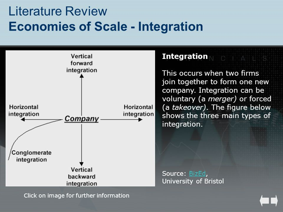 Literature Review Economies of Scale - Integration Integration This occurs when two firms join together to form one new company. Integration can be vo