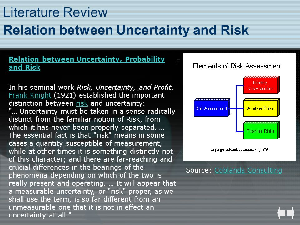 Literature Review Relation between Uncertainty and Risk Source: Coblands ConsultingCoblands Consulting Relation between Uncertainty, Probability and R