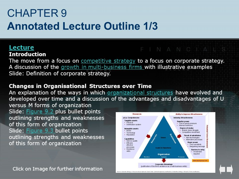 CHAPTER 9 Annotated Lecture Outline 1/3 Lecture Introduction The move from a focus on competitive strategy to a focus on corporate strategy. A discuss