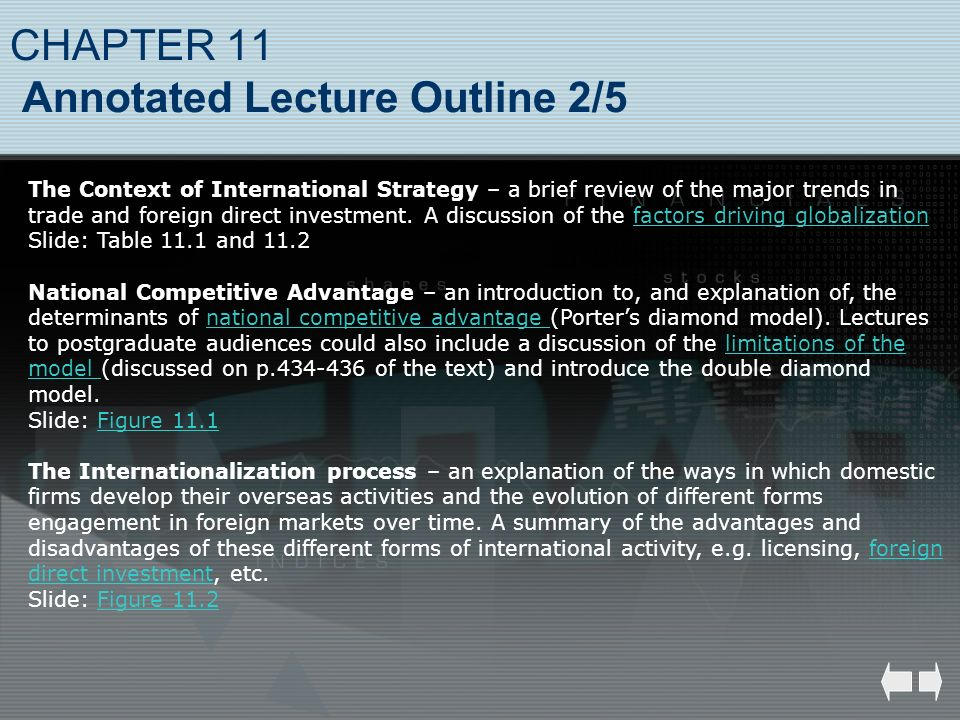 CHAPTER 11 Annotated Lecture Outline 2/5 The Context of International Strategy – a brief review of the major trends in trade and foreign direct invest