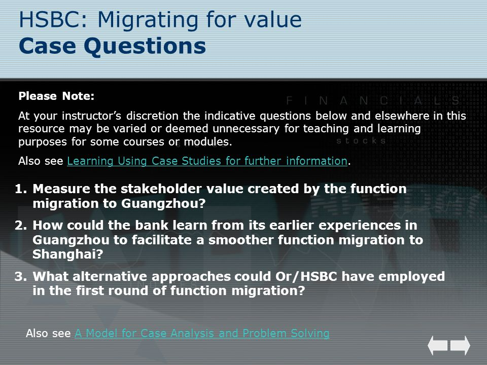 HSBC: Migrating for value Case Questions Please Note: At your instructors discretion the indicative questions below and elsewhere in this resource may