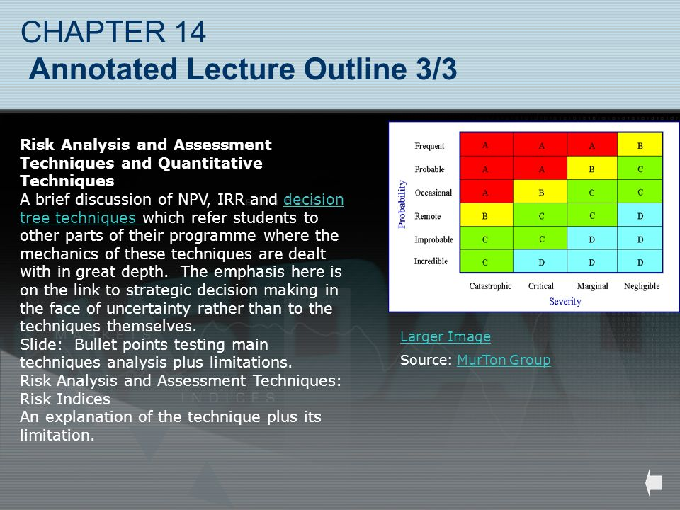 CHAPTER 14 Annotated Lecture Outline 3/3 Risk Analysis and Assessment Techniques and Quantitative Techniques A brief discussion of NPV, IRR and decisi