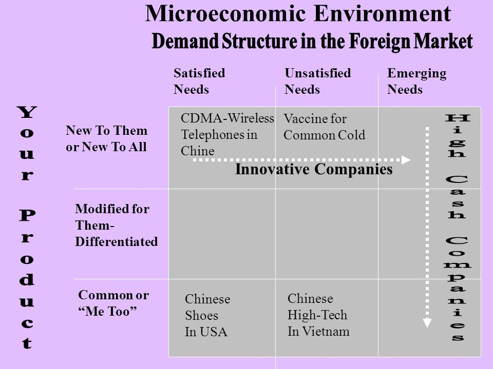 Microeconomic Environment New To Them or New To All Modified for Them- Differentiated Common or Me Too Satisfied Needs Unsatisfied Needs Emerging Need