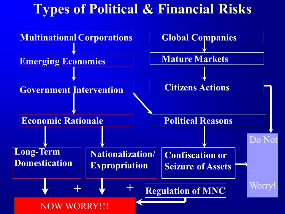 Types of Political & Financial Risks Multinational Corporations Emerging Economies Government Intervention Global Companies Mature Markets Citizens Ac