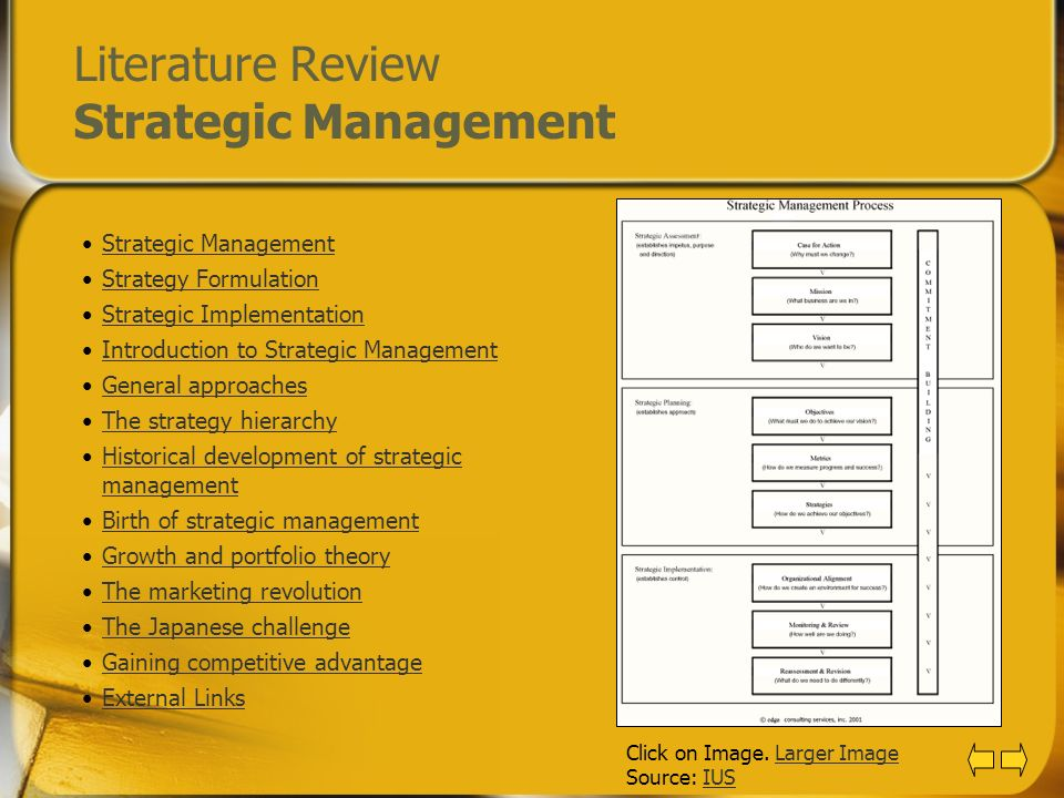 Literature Review Strategic Management Strategic Management Strategy Formulation Strategic Implementation Introduction to Strategic Management General