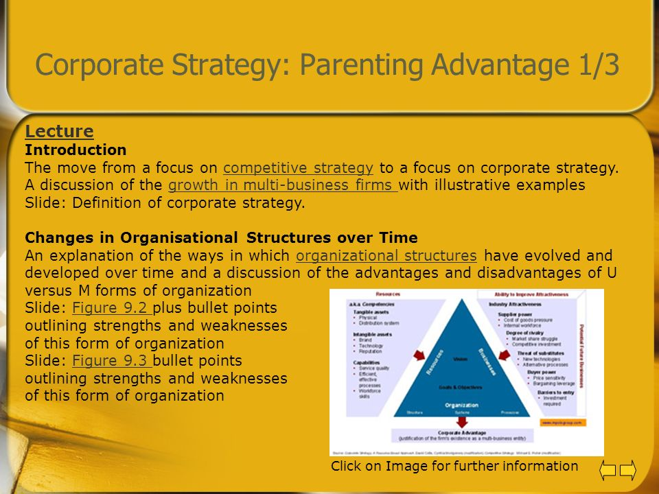 Corporate Strategy: Parenting Advantage 1/3 Lecture Introduction The move from a focus on competitive strategy to a focus on corporate strategy. A dis
