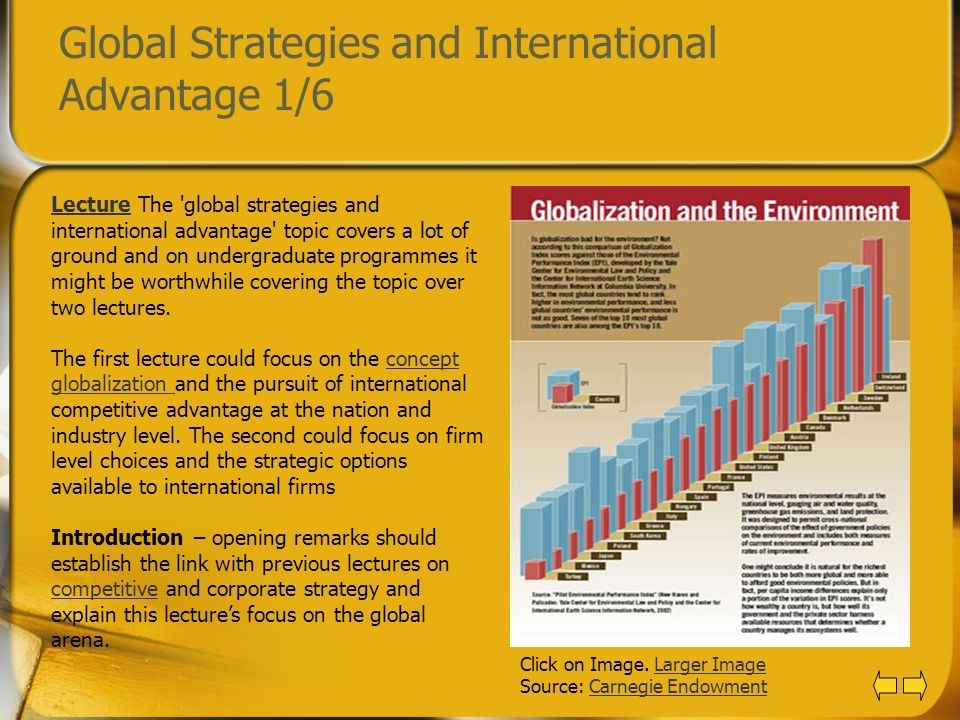Global Strategies and International Advantage 1/6 LectureLecture The 'global strategies and international advantage' topic covers a lot of ground and