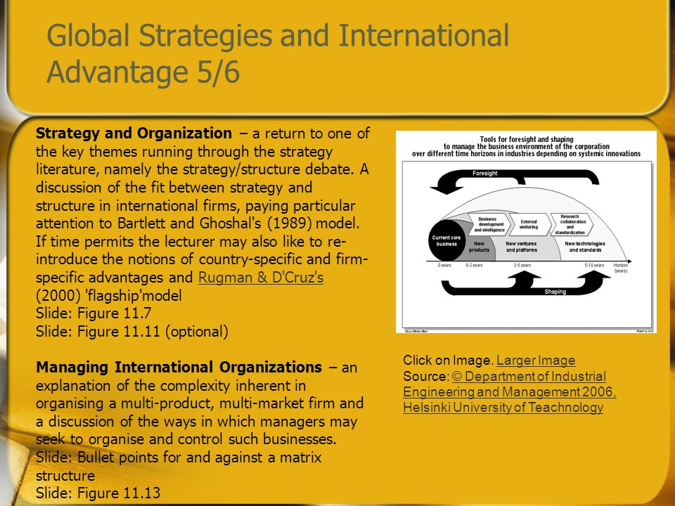 Global Strategies and International Advantage 5/6 Strategy and Organization – a return to one of the key themes running through the strategy literatur