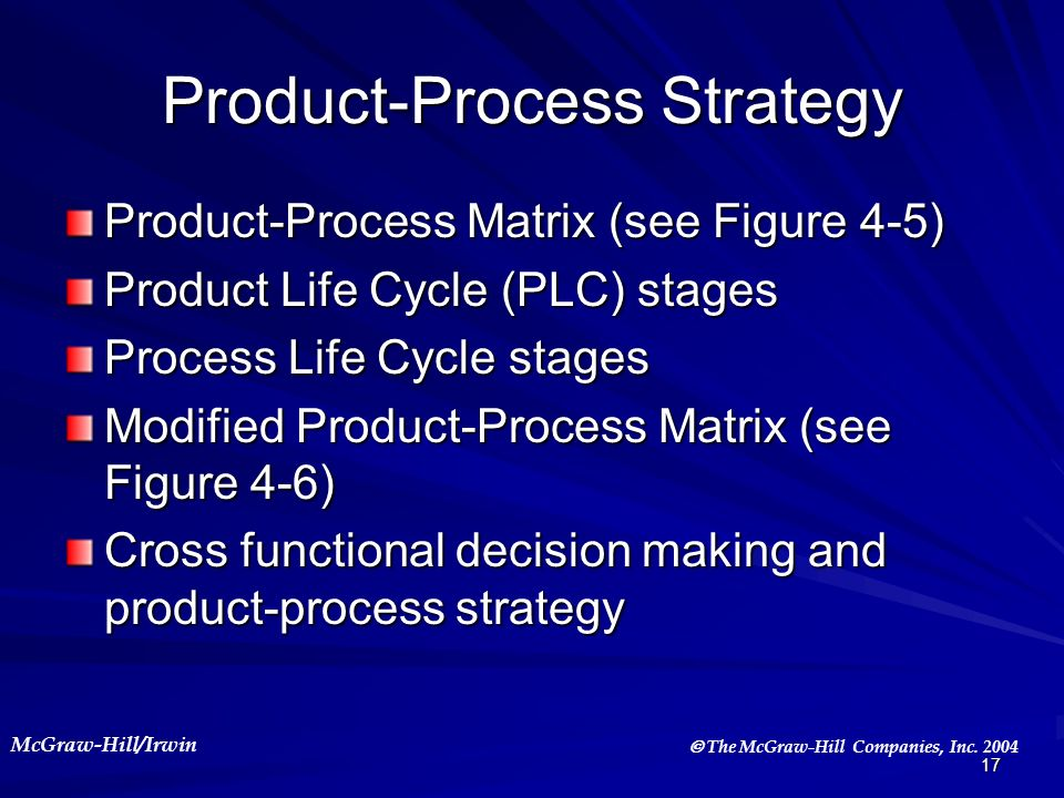 McGraw-Hill/Irwin The McGraw-Hill Companies, Inc. 2004 17 Product-Process Strategy Product-Process Matrix (see Figure 4-5) Product Life Cycle (PLC) st