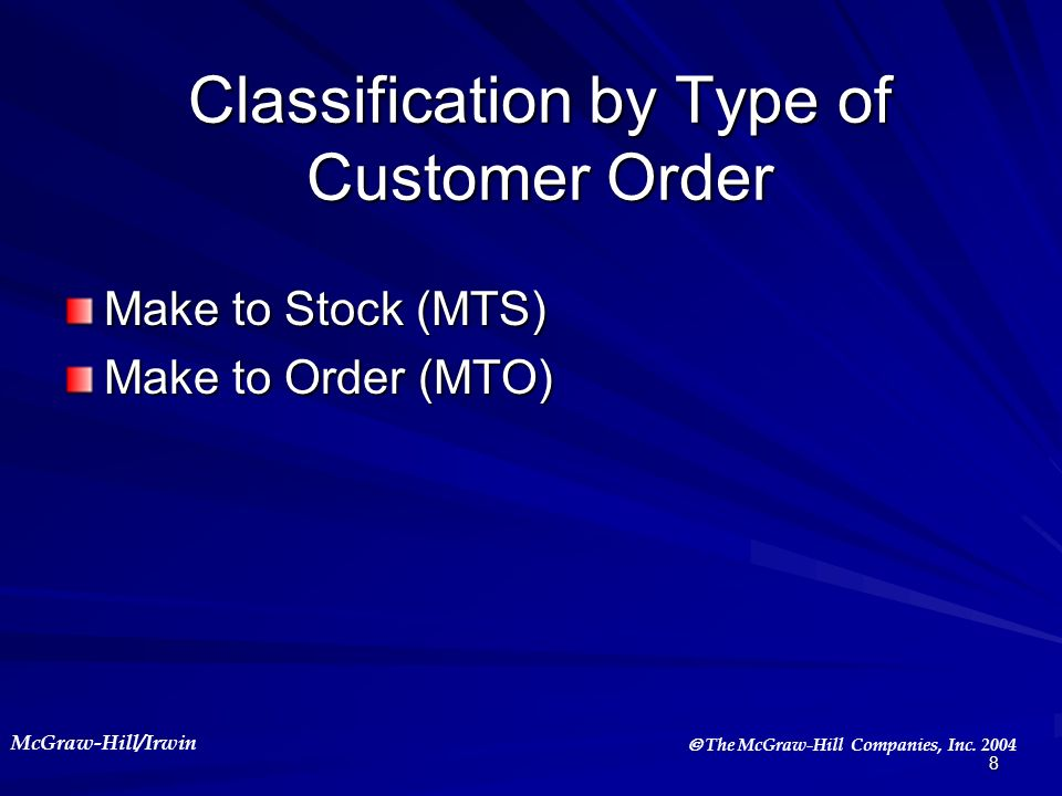 McGraw-Hill/Irwin The McGraw-Hill Companies, Inc. 2004 8 Classification by Type of Customer Order Make to Stock (MTS) Make to Order (MTO)