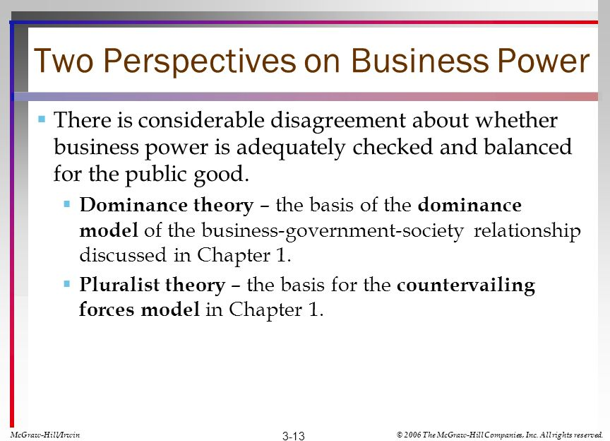 Two Perspectives on Business Power There is considerable disagreement about whether business power is adequately checked and balanced for the public g