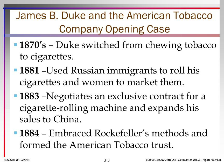James B. Duke and the American Tobacco Company Opening Case 1870s – Duke switched from chewing tobacco to cigarettes. 1881 –Used Russian immigrants to