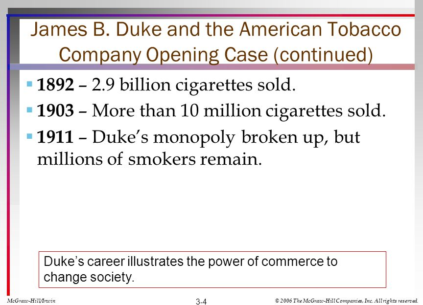 James B. Duke and the American Tobacco Company Opening Case (continued) 1892 – 2.9 billion cigarettes sold. 1903 – More than 10 million cigarettes sol