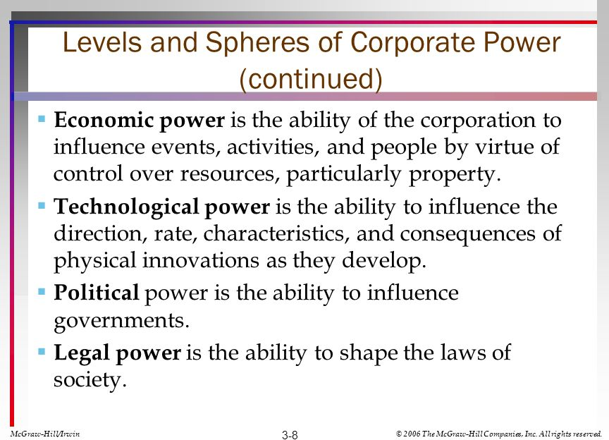 Levels and Spheres of Corporate Power (continued) Economic power is the ability of the corporation to influence events, activities, and people by virt