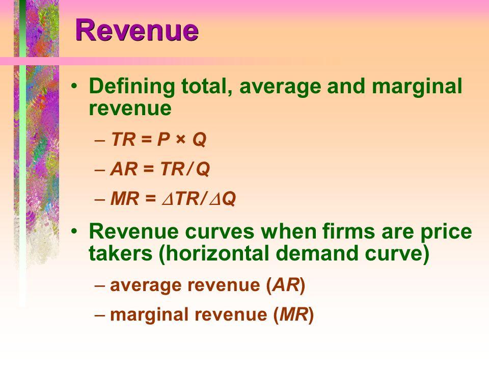 Revenue Defining total, average and marginal revenue –TR = P × Q –AR = TR / Q –MR = TR / Q Revenue curves when firms are price takers (horizontal dema